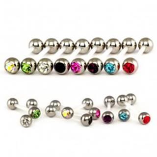 Piercing do jazyka z ocele - flexi tyčka, vsadený zirkón - Farba zirkónu: Červená - R