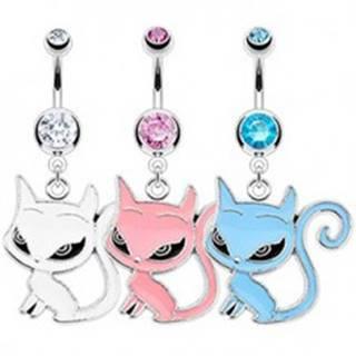 Piercing do pupka - sediaca mačička, veľké oči - Farba zirkónu: Aqua modrá - Q