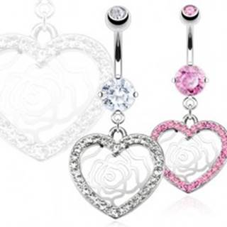 Piercing do pupka z ocele - zirkónové srdce, ruža - Farba: Číra