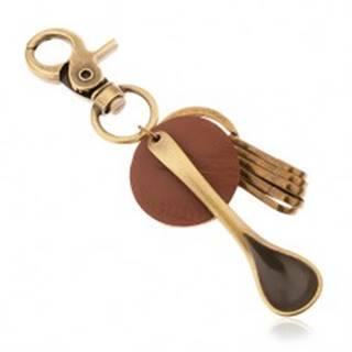 Prívesok na kľúče v mosadznom odtieni, kruh z hnedej umelej kože, lyžica