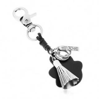 Prívesok na kľúče v sivej a čiernej farbe, bedmintonový košík, známka a kruhy