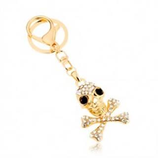 Prívesok na kľúče, zlatý odtieň, lebka s prekríženými kosťami, zirkóny