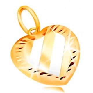 Prívesok v 14K zlate - dvojfarebné srdce so šikmými pásmi a zárezmi po obvode