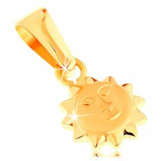 Prívesok v žltom 14K zlate - lesklé vypuklé slnko s matnou tvárou