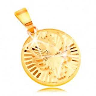 Prívesok zo žltého 14K zlata - lesklý kruh s lúčovitými zárezmi - RAK
