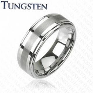 Prsteň z tungstenu v tmavosivom lesklom odtieni, brúsený stredový pás, 8 mm - Veľkosť: 49 mm