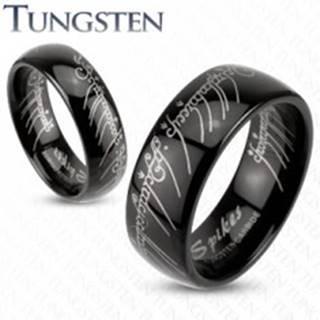 Prsteň z wolfrámu - hladká čierna obrúčka, Pán prsteňov, 6 mm - Veľkosť: 49 mm