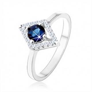 Prsteň zo striebra 925, obrys kosoštvorca, modrý okrúhly zirkón - Veľkosť: 50 mm
