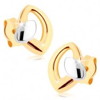 Puzetové náušnice v žltom 9K zlate, kontúra zrnka s malým zrniečkom