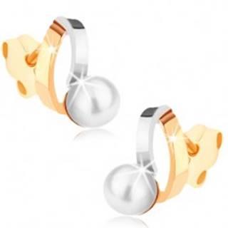 Ródiované náušnice z 9K zlata - dvojfarebné oblúčiky, perla bielej farby