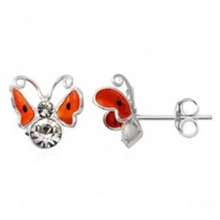 Strieborné náušnice 925 - 3D oranžový motýľ, čierne bodky