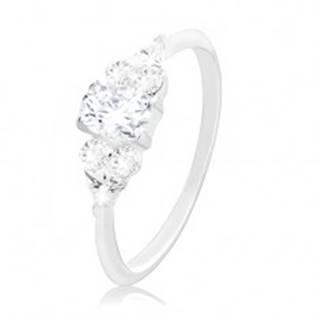 Zásnubný prsteň, striebro 925, väčší číry zirkón v strede a menšie po stranách - Veľkosť: 48 mm