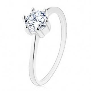 Zásnubný prsteň zo striebra 925, úzke ramená, okrúhly zirkón v čírom odtieni - Veľkosť: 50 mm