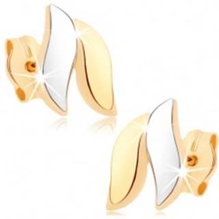 Zlaté náušnice 375 - lesklé vlnky, zlatá a strieborná farba, puzetky