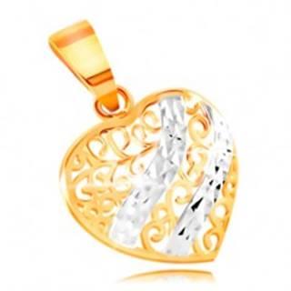 Zlatý prívesok 585 - vypuklé srdce zdobené filigránom a vlnkami z bieleho zlata