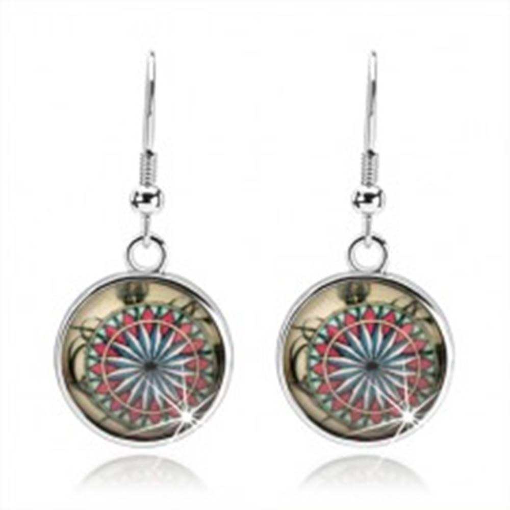 Šperky eshop Cabochon náušnice, vypuklé sklo, kvet z farebných geometrických útvarov