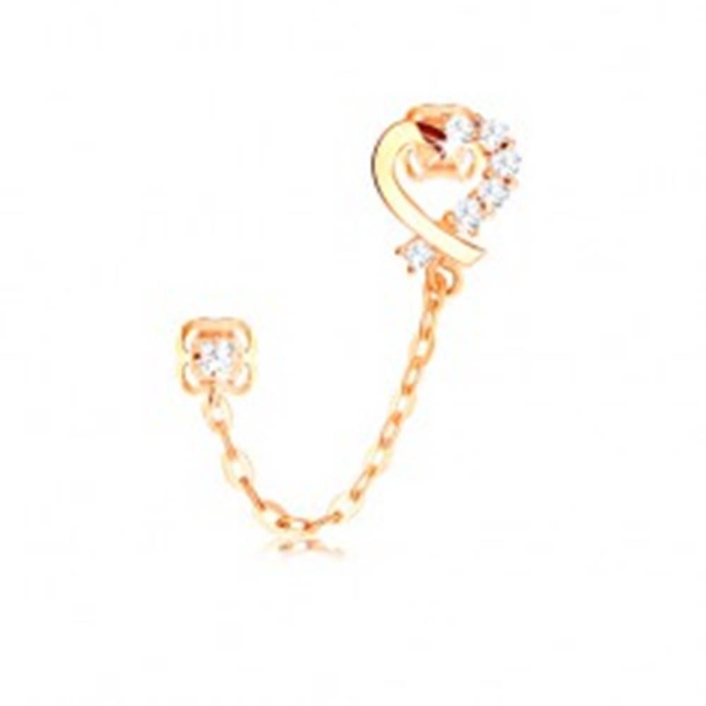 Šperky eshop Diamantová náušnica zo žltého 14K zlata, kontúra srdca, číre brilianty a retiazka
