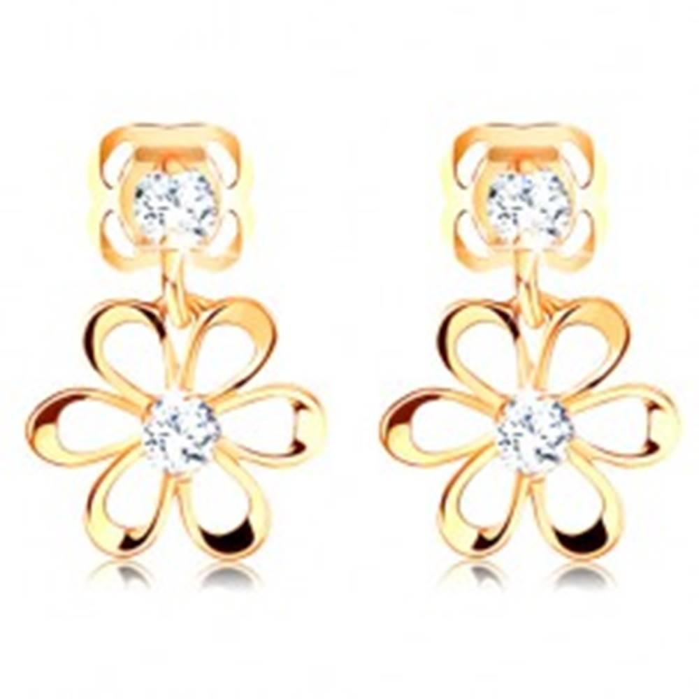 Šperky eshop Diamantové náušnice v žltom 14K zlate - kvietok s oblými lupeňmi, číre brilianty