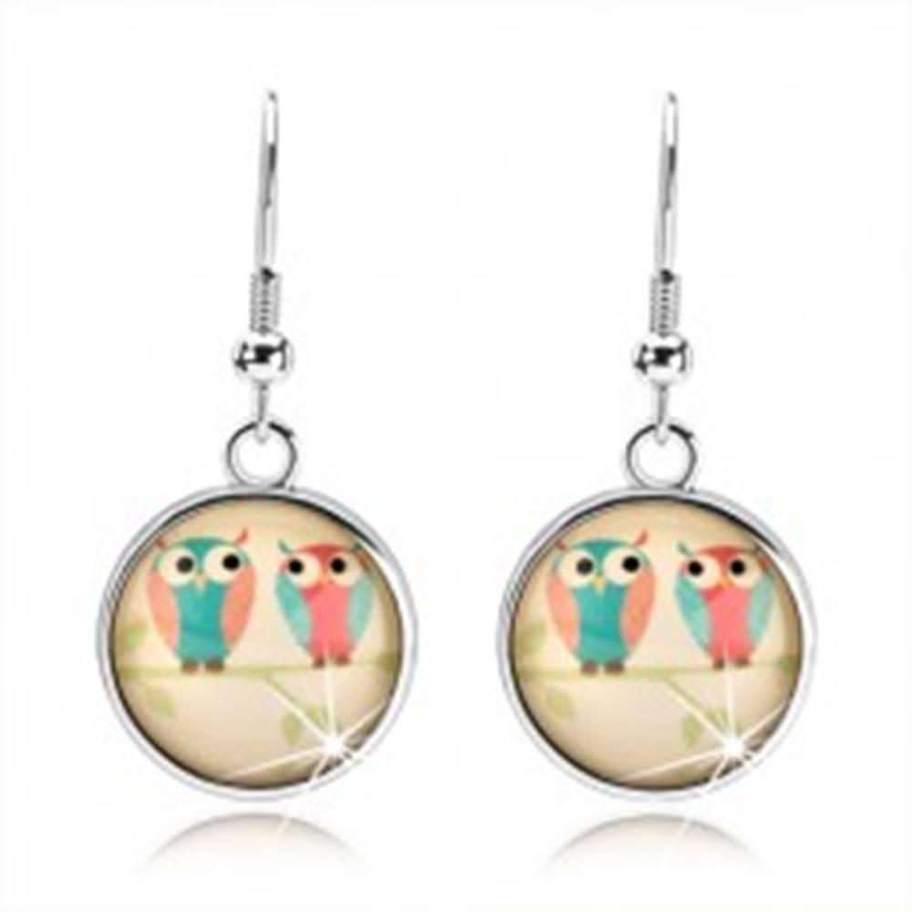 Šperky eshop Kabošon náušnice, kruh, obrázok - dve sovičky na konári pod vypuklým sklom