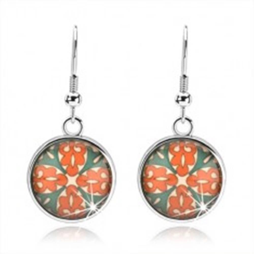 Šperky eshop Kabošon náušnice, kruh s glazúrou, kvet z oranžových a zelených ornamentov