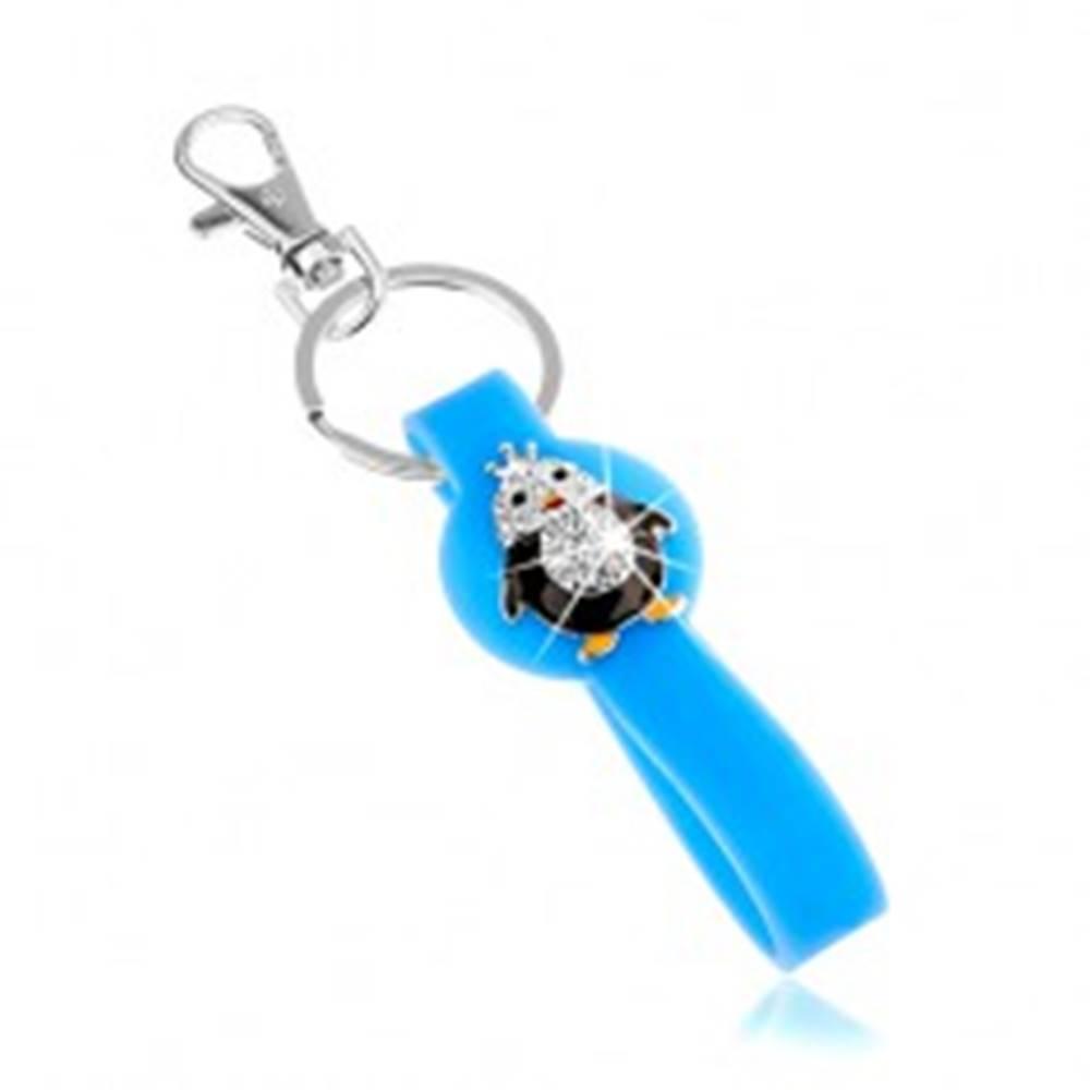 Šperky eshop Kľúčenka, modrý prívesok zo silikónu, malý tučniačik, zirkóny, farebná glazúra