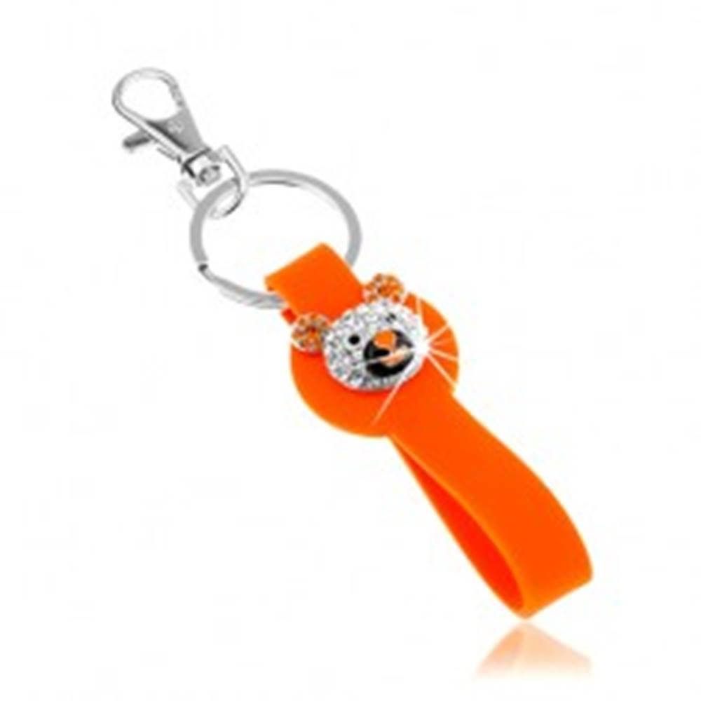 Šperky eshop Kľúčenka striebornej farby, oranžový silikónový prívesok, trblietavá hlava macka