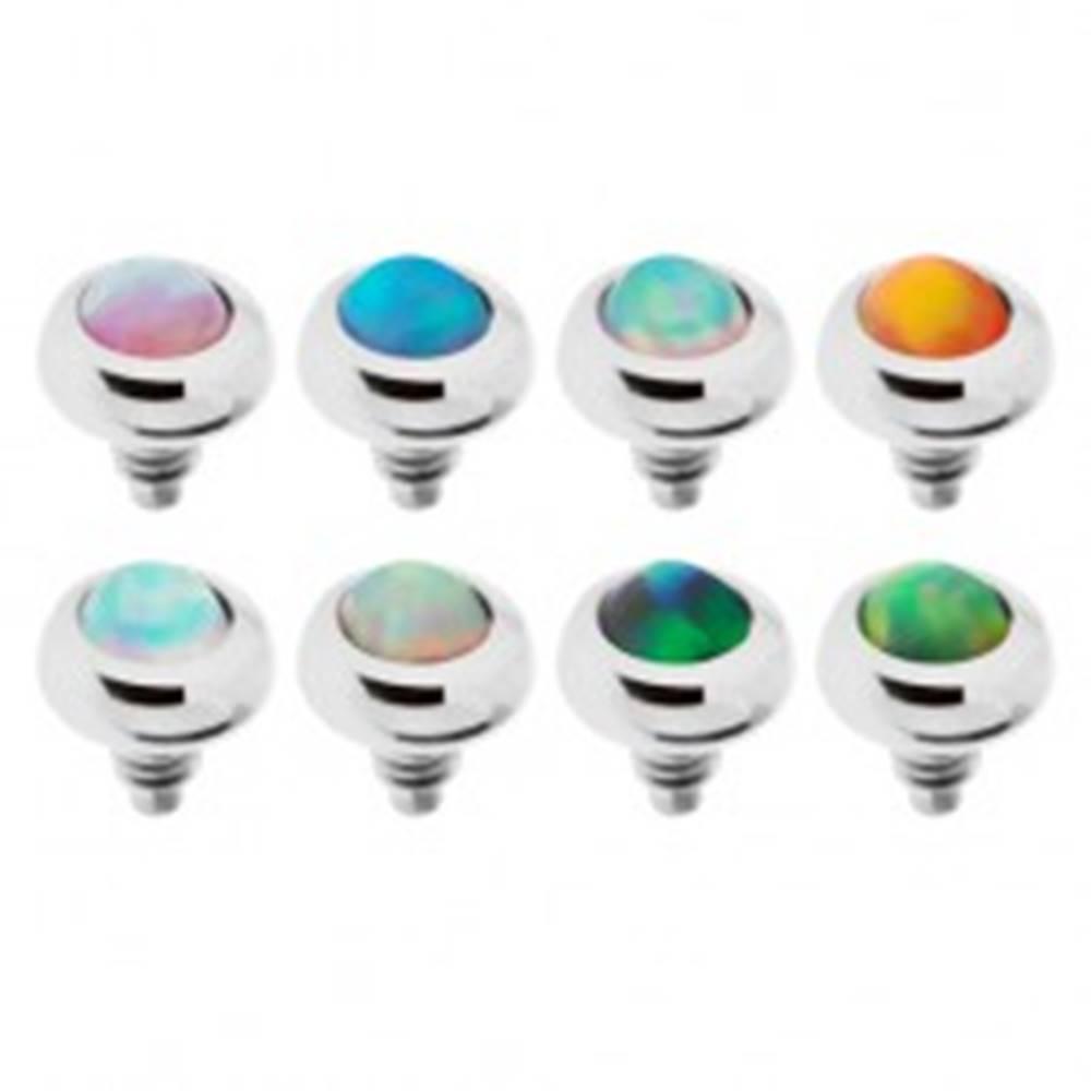 Šperky eshop Náhradný diel do implantátu z ocele, gulička s farebným syntetickým opálom - Farba piercing: Číra
