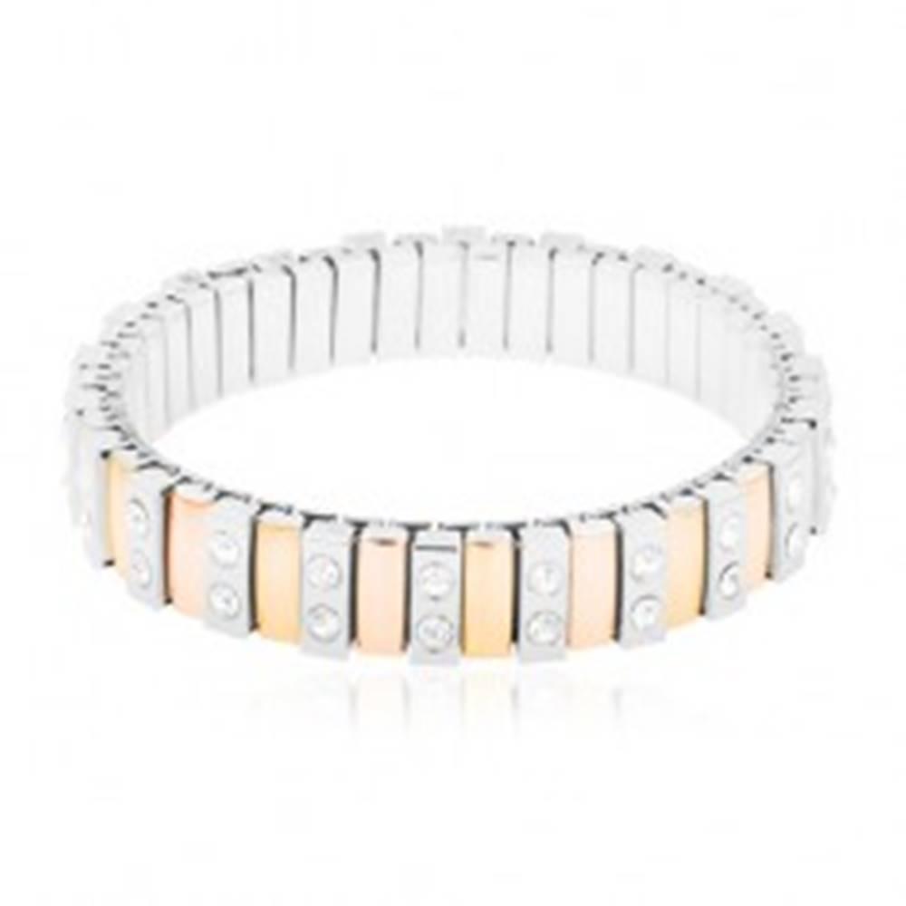 Šperky eshop Náramok z ocele 316L, úzke články zlatej, medenej a striebornej farby, číre zirkóny