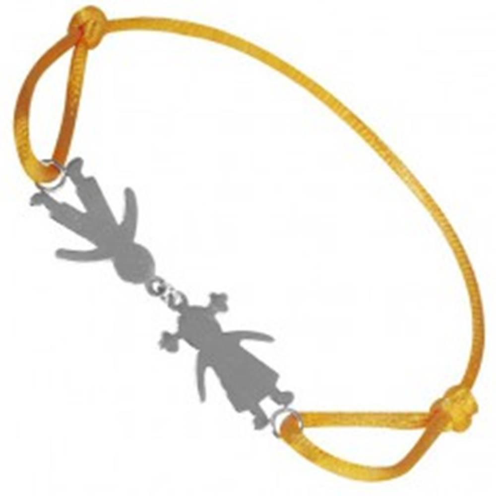 Šperky eshop Náramok zo striebra 925 - chlapec a dievča na žltej šnúrke, spojení pri hlave