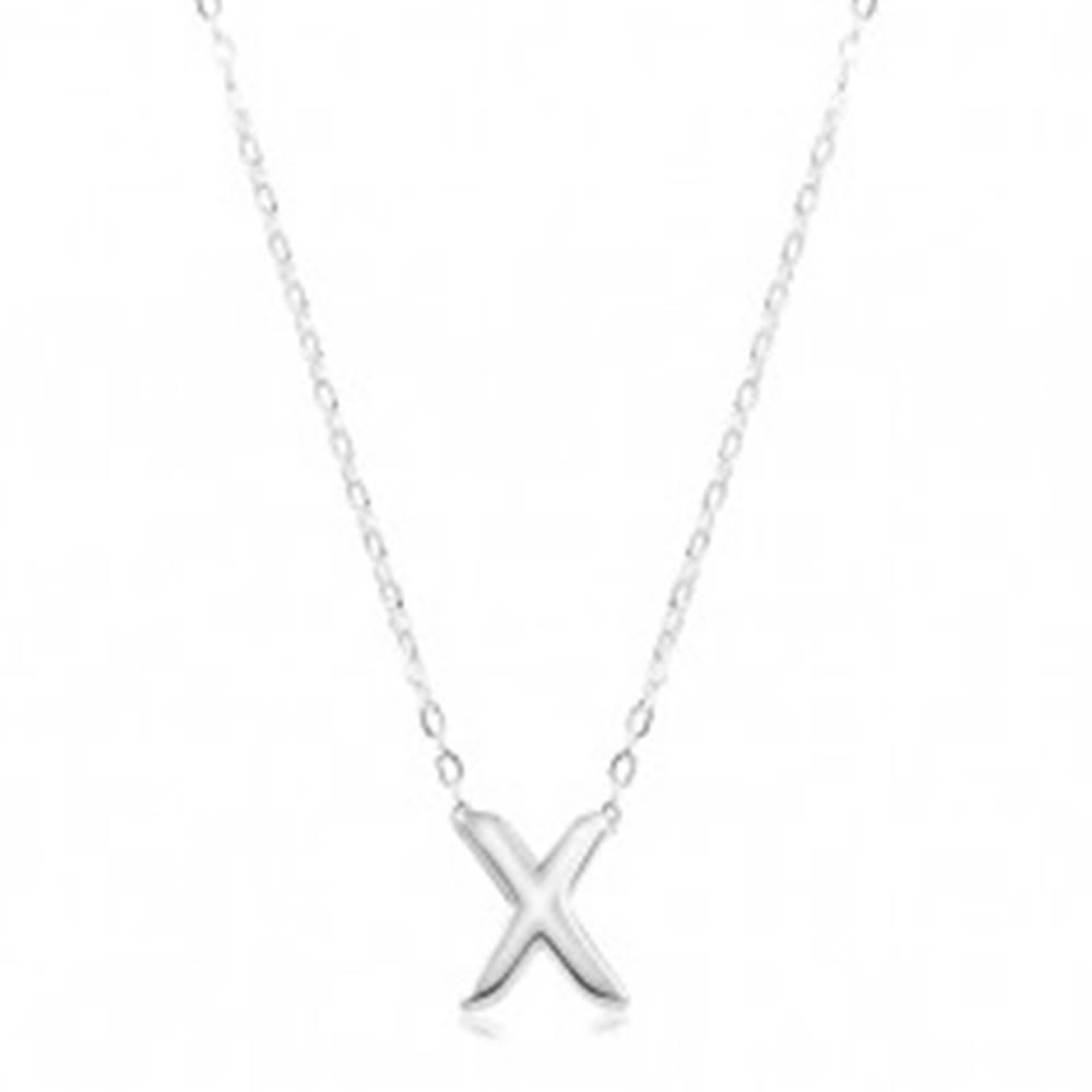 Šperky eshop Nastaviteľný náhrdelník, striebro 925, veľké tlačené písmeno X