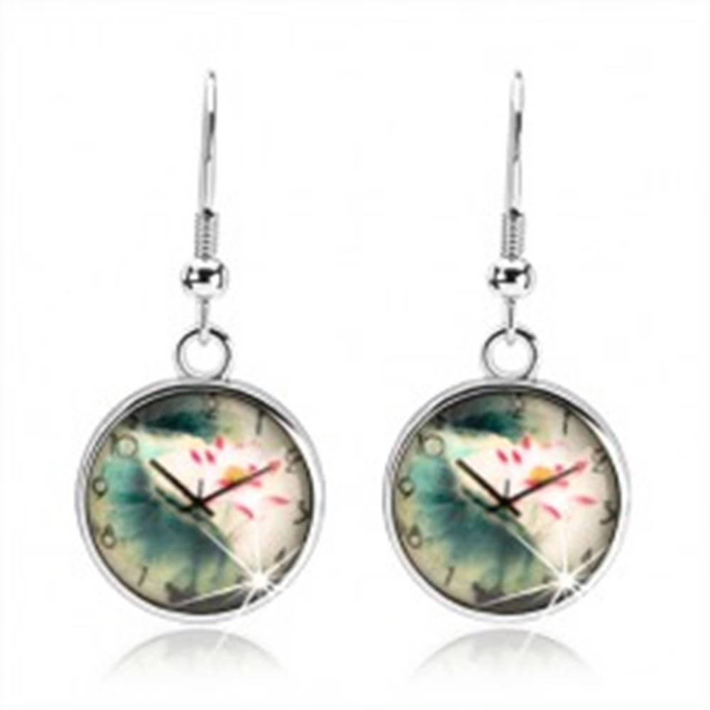 Šperky eshop Náušnice cabochon, číra vypuklá glazúra, motív - hodinky, kvet s listami