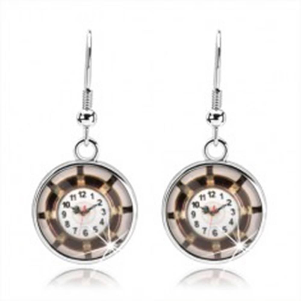 Šperky eshop Náušnice kabošon, vypuklá glazúra, obrázok - hodinky, hnedý lem, lúče