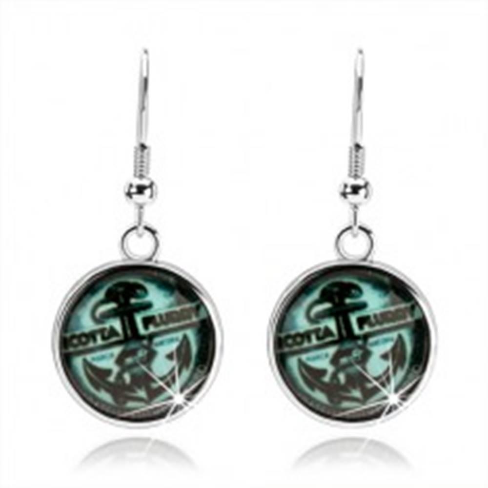 Šperky eshop Náušnice striebornej farby, kabošon, námornícky motív, kotva, tyrkysový odtieň