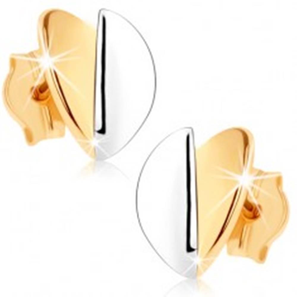 Šperky eshop Náušnice v 9K zlate - vypuklé lístočky, zlatý a strieborný odtieň, ródiované