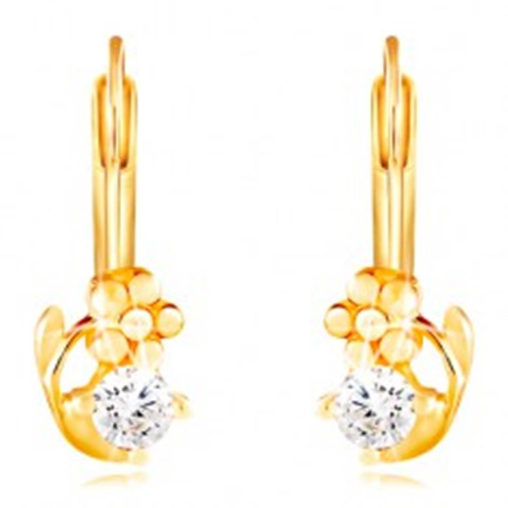 Šperky eshop Náušnice v žltom 14K zlate - lesklý kvietok a okrúhly číry zirkón
