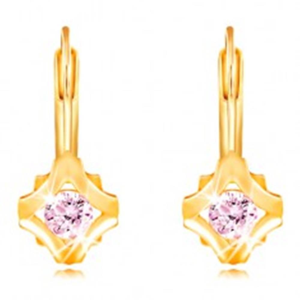 Šperky eshop Náušnice v žltom 14K zlate - okrúhly ružový zirkón v obryse kosoštvroca