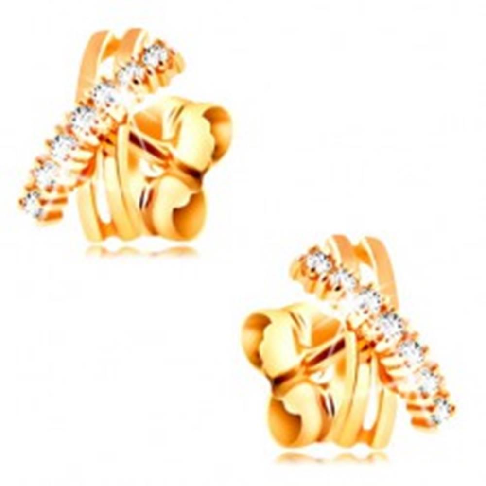 Šperky eshop Náušnice v žltom 14K zlate - prekrížené zahntuté línie, trblietavé číre zirkóny