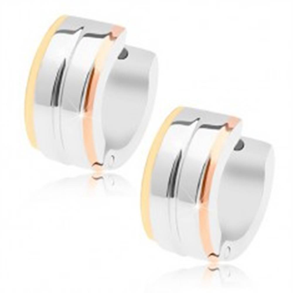 Šperky eshop Náušnice z ocele 316L, lesklá ryha, tri pásy v zlatej, striebornej a medenej farbe