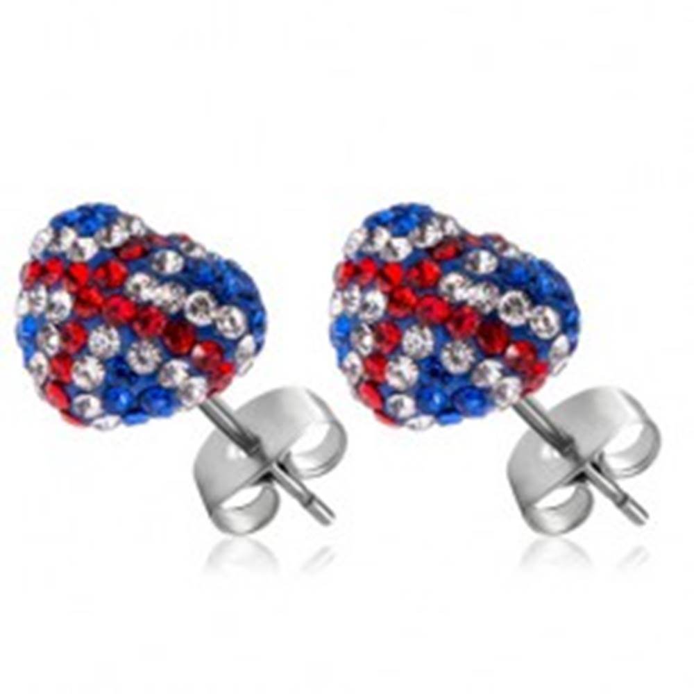 Šperky eshop Náušnice z ocele 316L - srdce s vlajkou - modré, červené a číre zirkóny