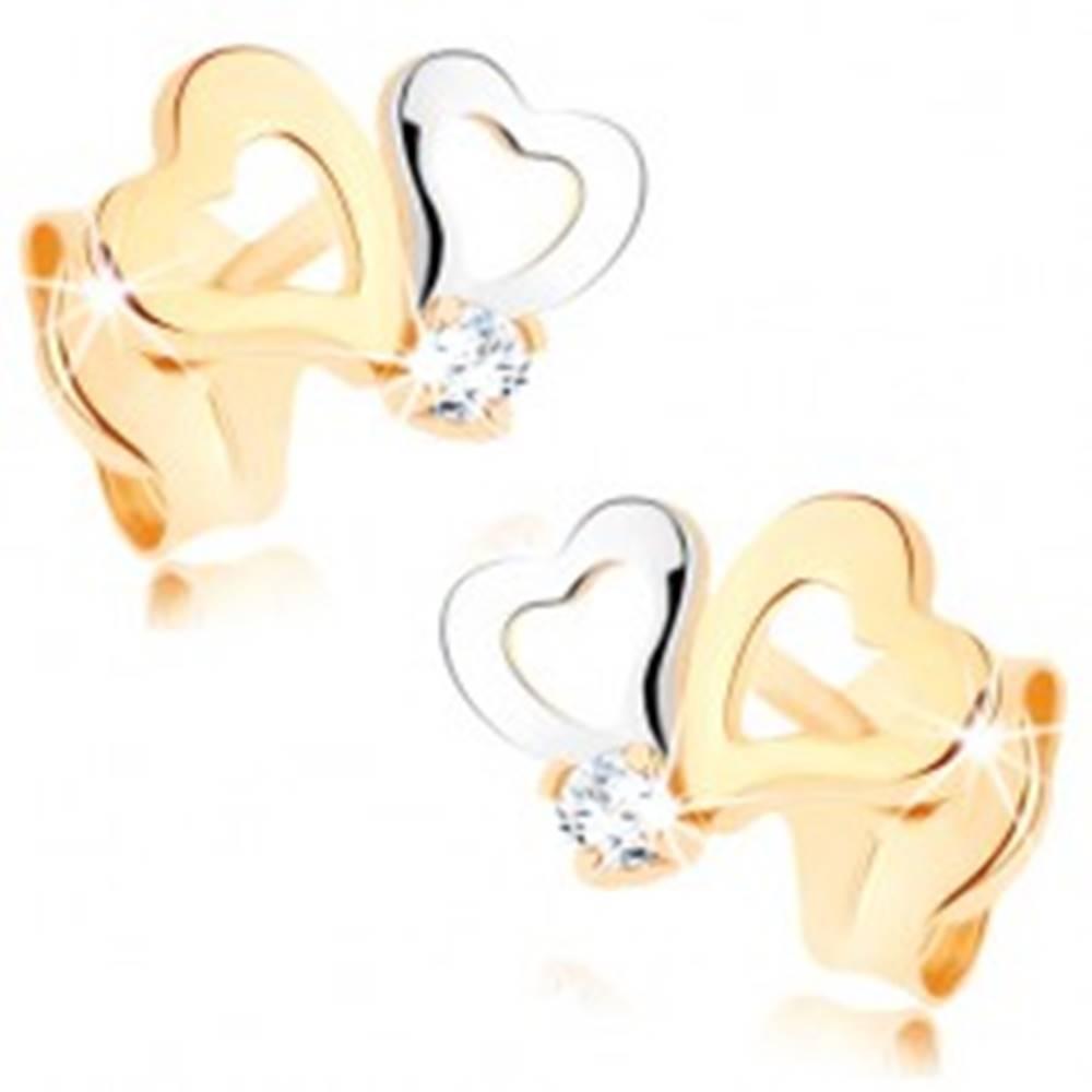 Šperky eshop Náušnice zo zlata 375 - dvojfarebné kontúry srdiečok, číry zirkónik