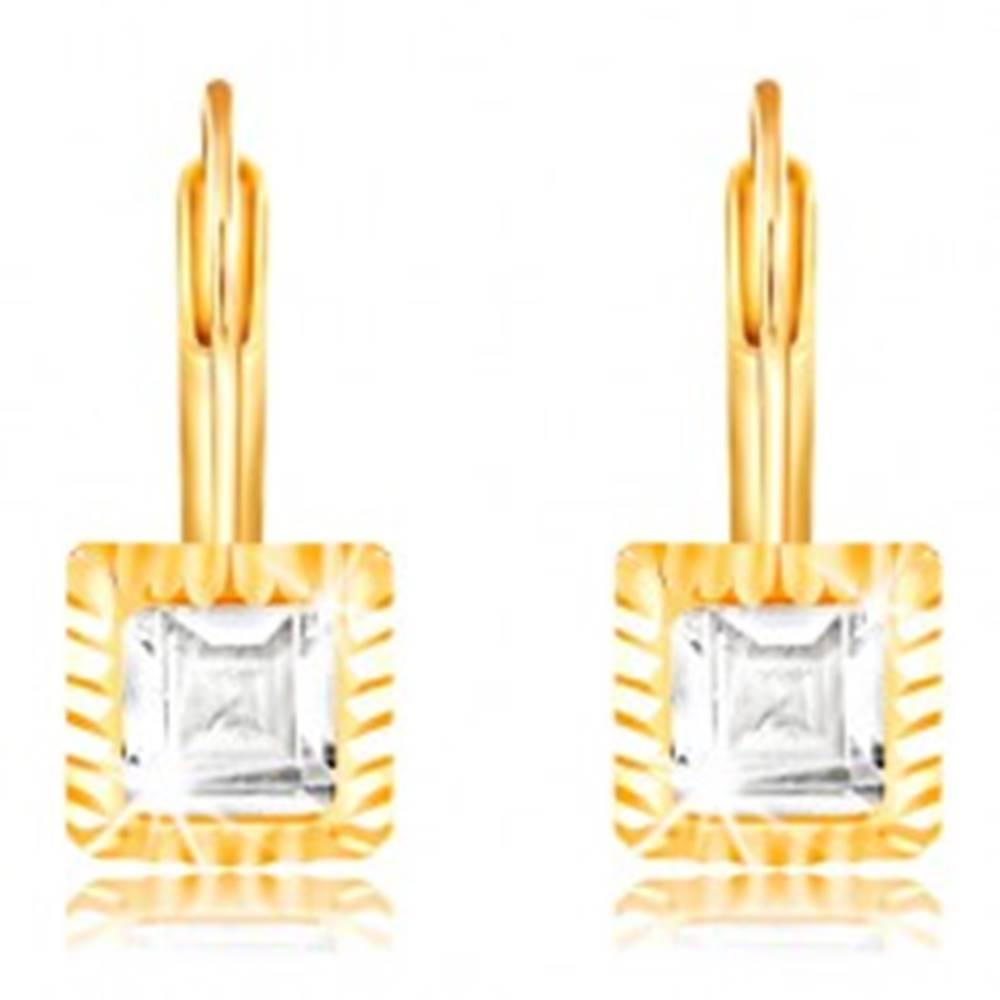 Šperky eshop Náušnice zo žltého 14K zlata - štvorcová objímka so zárezmi, brúsený číry zirkón, 5 mm