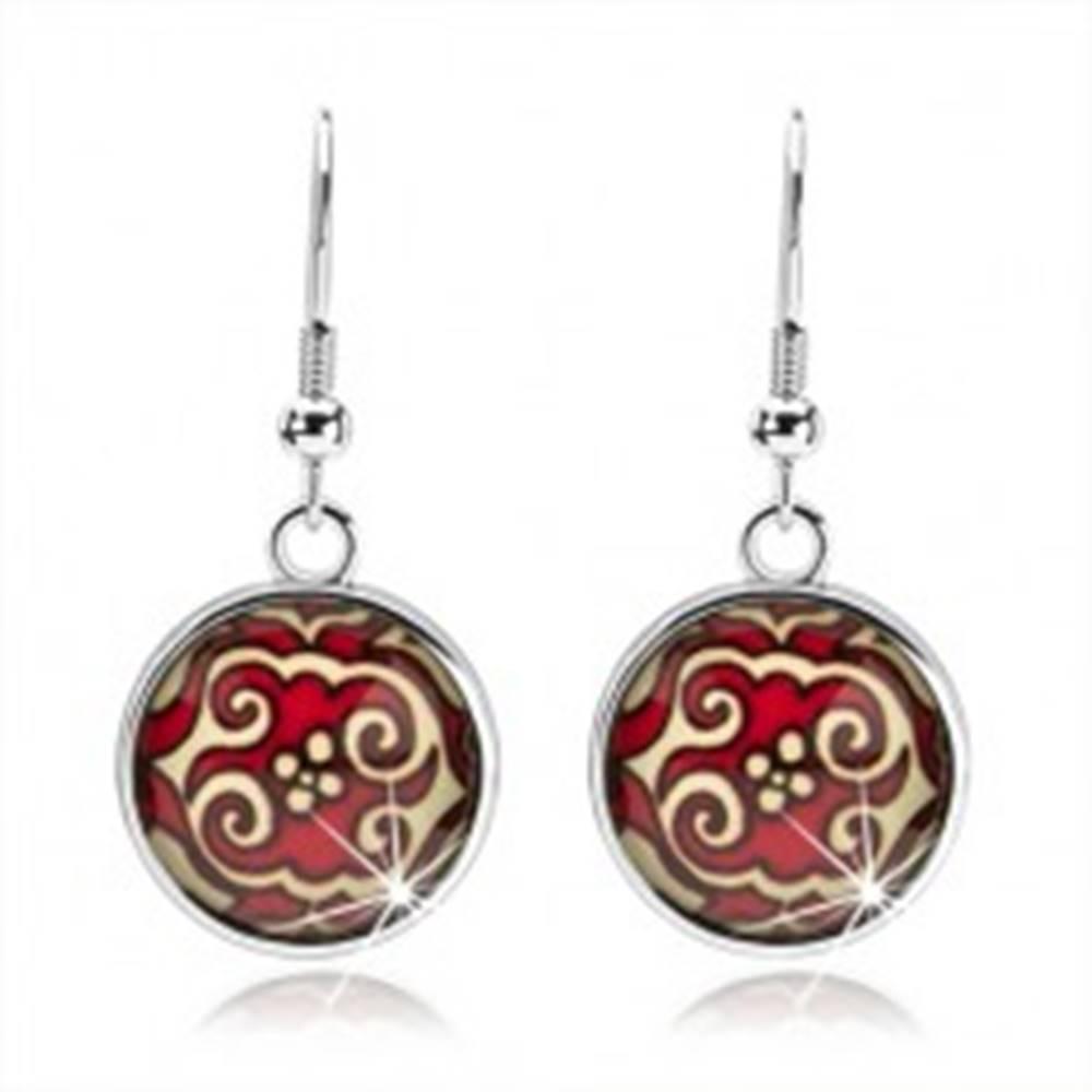 Šperky eshop Okrúhle náušnice, kabošon, vypuklá glazúra, červeno-žlté ornamenty, kvet