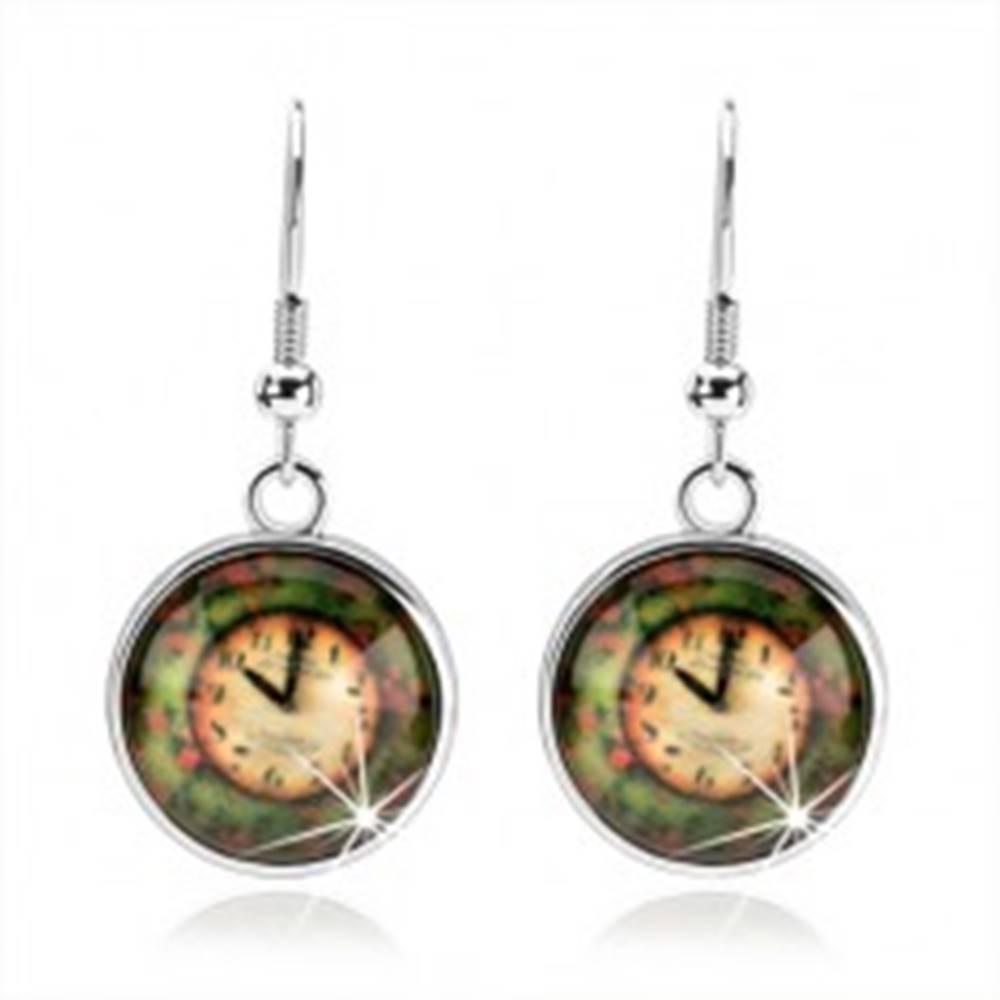Šperky eshop Okrúhle náušnice - kabošon, vypuklá glazúra, hodinky na farebnom podklade
