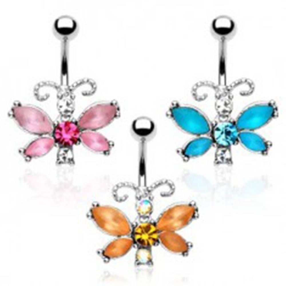 Šperky eshop Piercing do bruška - motýľ, farebné zirkóny, členité tykadlá - Farba zirkónu: Aqua modrá - Q