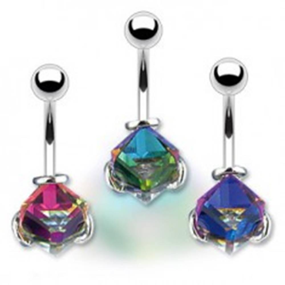 Šperky eshop Piercing do pupka - krištáľová kocka, farebný odlesk pozadia - Farba: Fialová