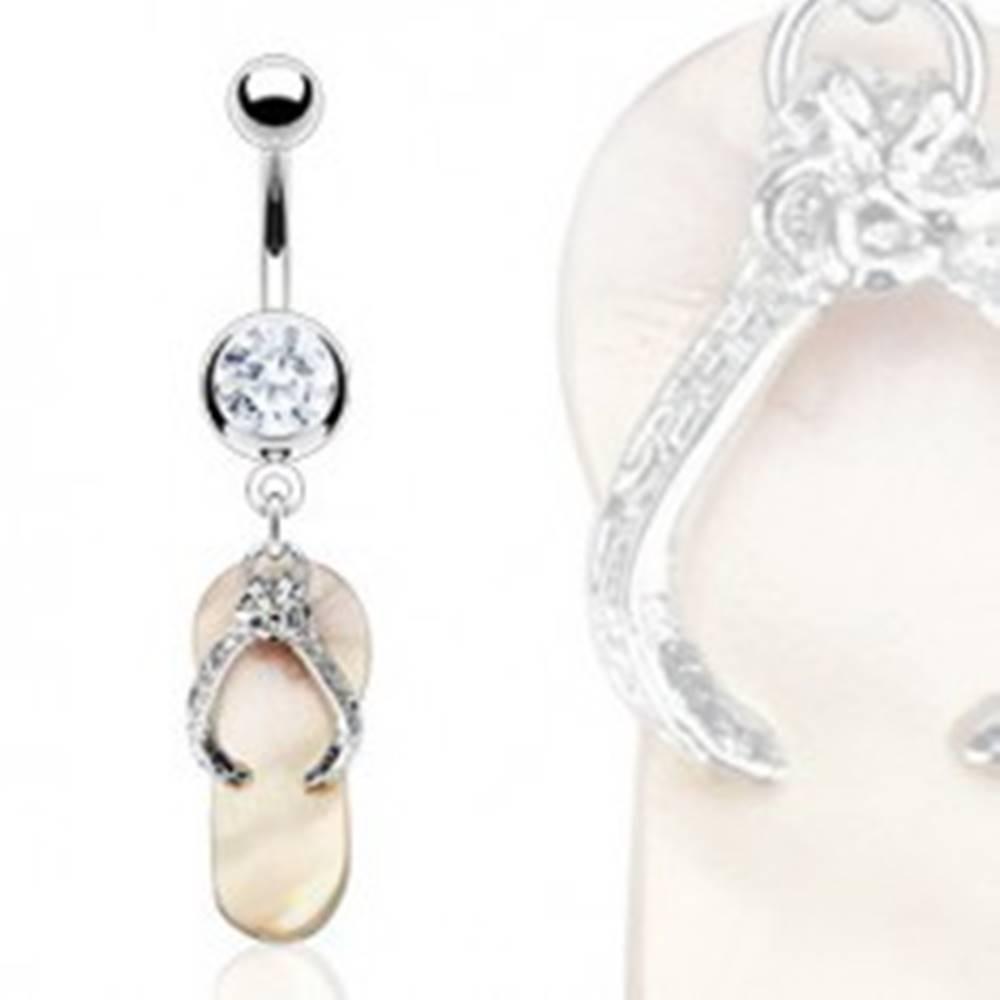 Šperky eshop Piercing do pupka - perleťová papučka, zirkón