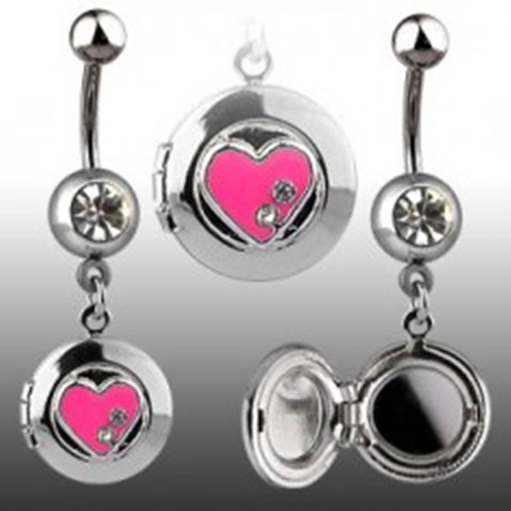 Šperky eshop Piercing do pupku - okrúhly medailón, srdiečko, zirkóny