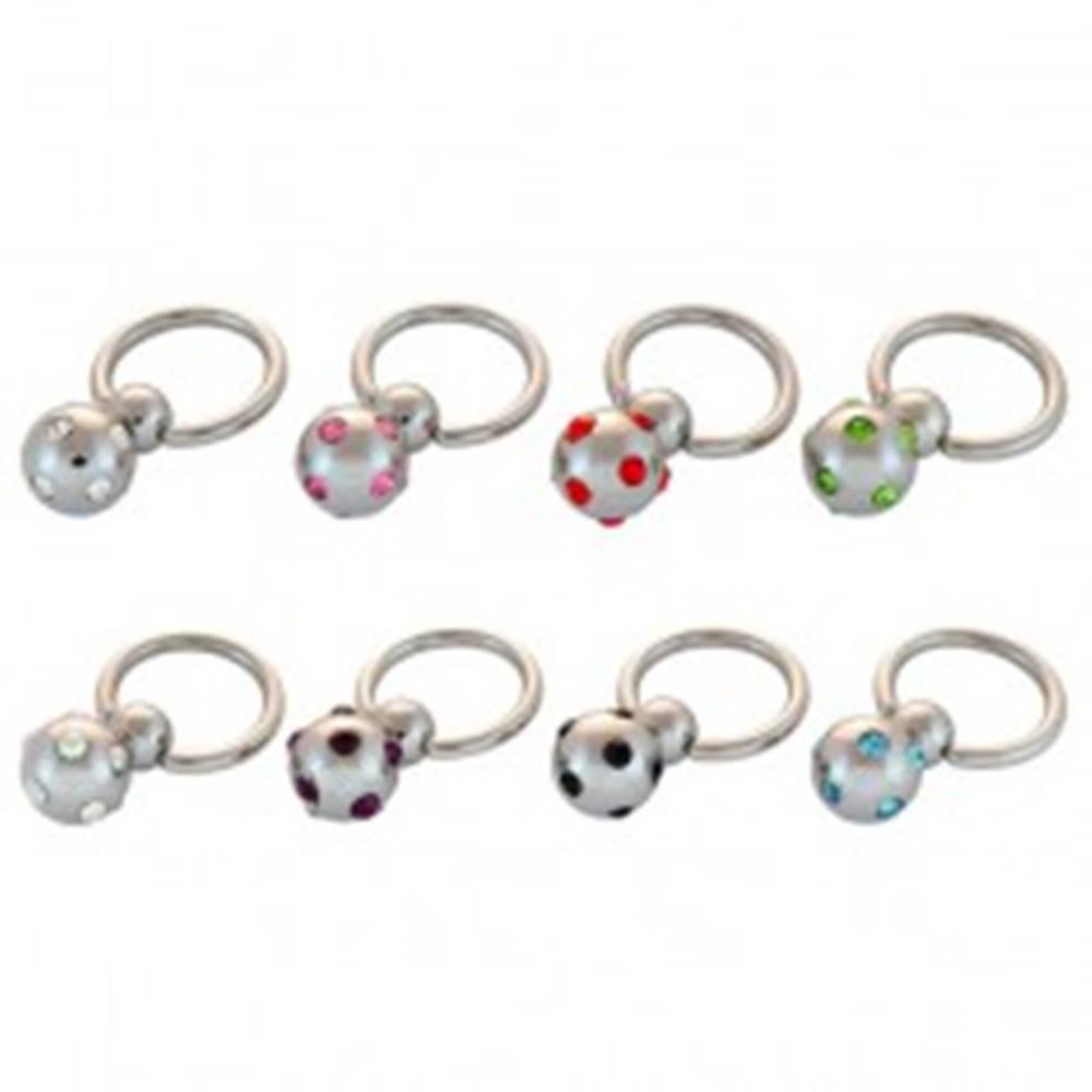 Šperky eshop Piercing - krúžok, gulička a vsadené zirkóniky - Farba zirkónu: Aqua modrá - Q