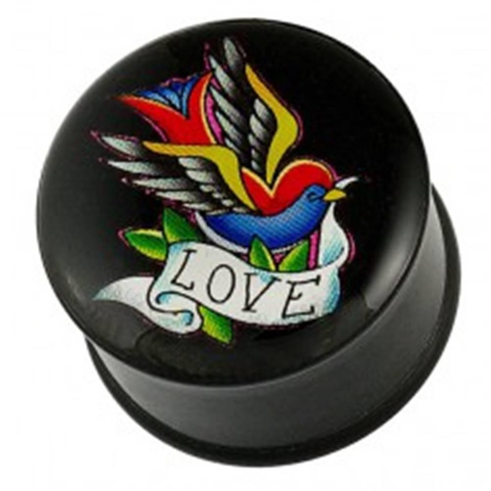 Šperky eshop Plug do ucha - pestrofarebný vtáčik, stuha a nápis LOVE - Hrúbka piercingu: 10 mm