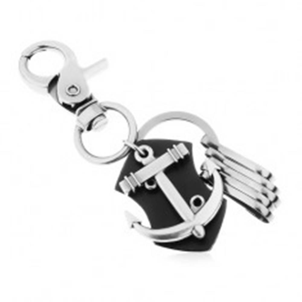 Šperky eshop Prívesok na kľúče - oceľovo sivý povrch, čierna umelá koža, lesklá lodná kotva